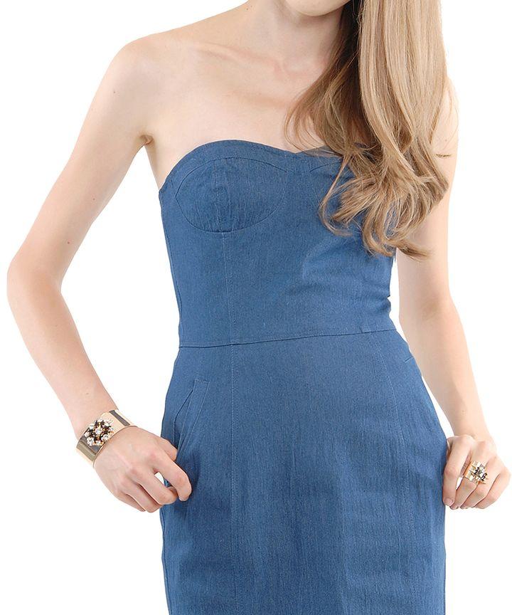 Chambray Denim Bustier Dress