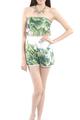 Model wearing Minkoff foliage playsuit