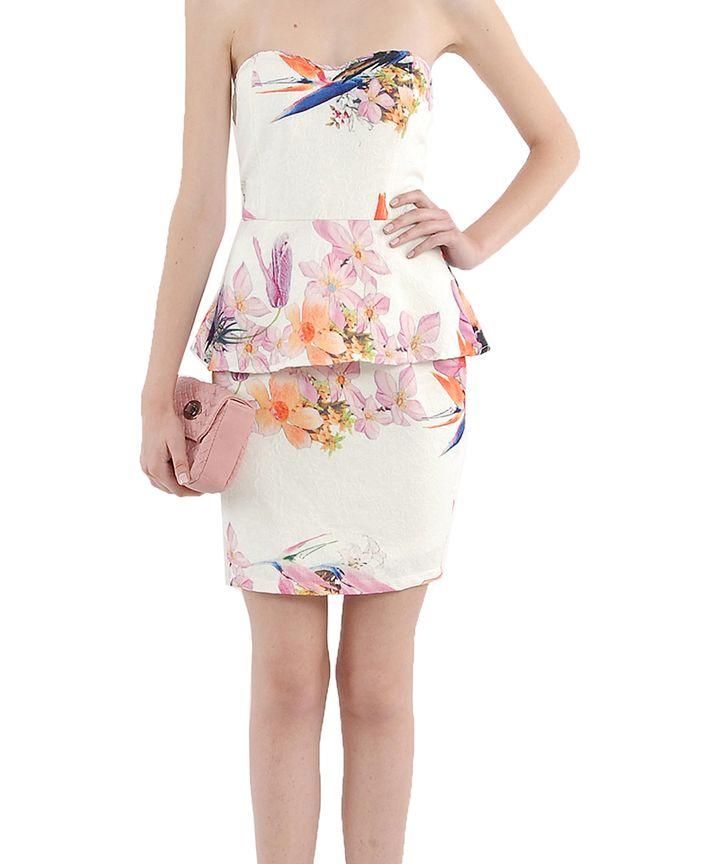 Botanic Peplum Bustier Dress
