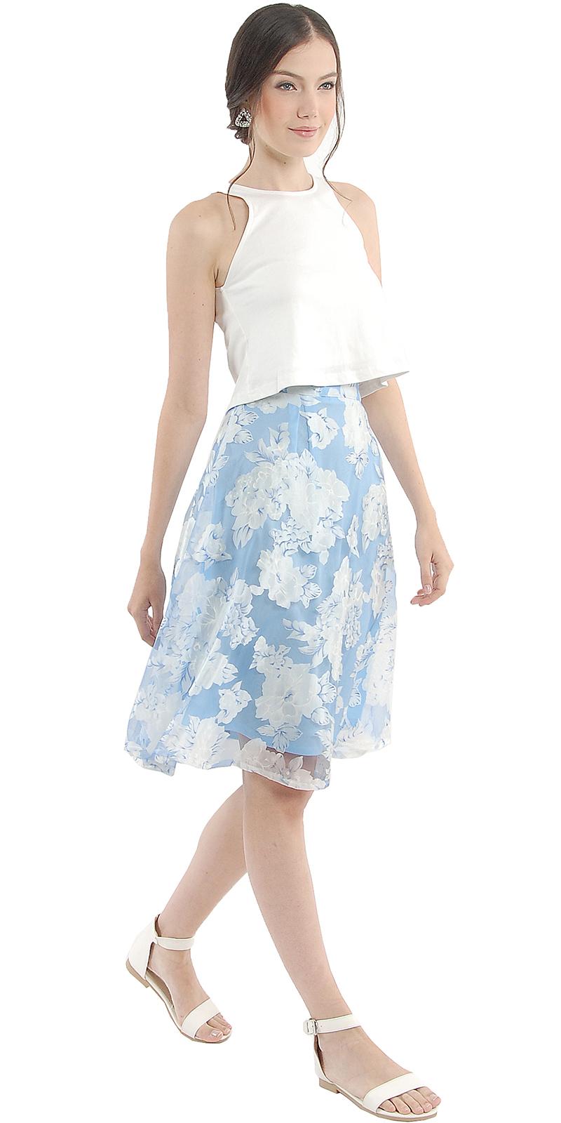fleur organza midi skirt pale blue velvet vase