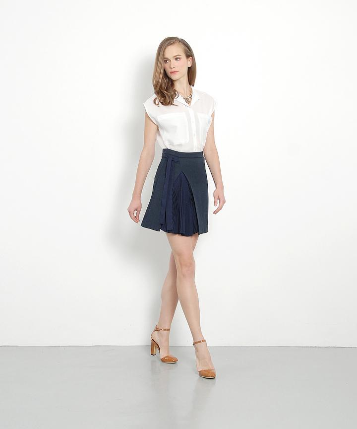 Jalouse Wrapover Pleat Skirt