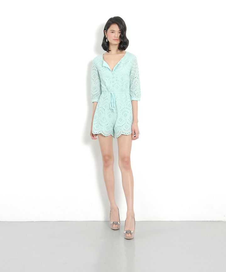 Freya Eyelet Playsuit - Mint