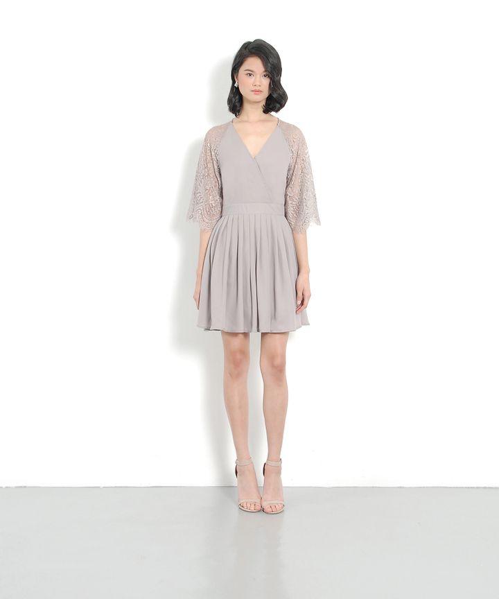 Emmeline Kimono Wrap Dress - Pale Grey