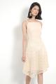Quinn Asymmetrical Midi Dress Nude colour