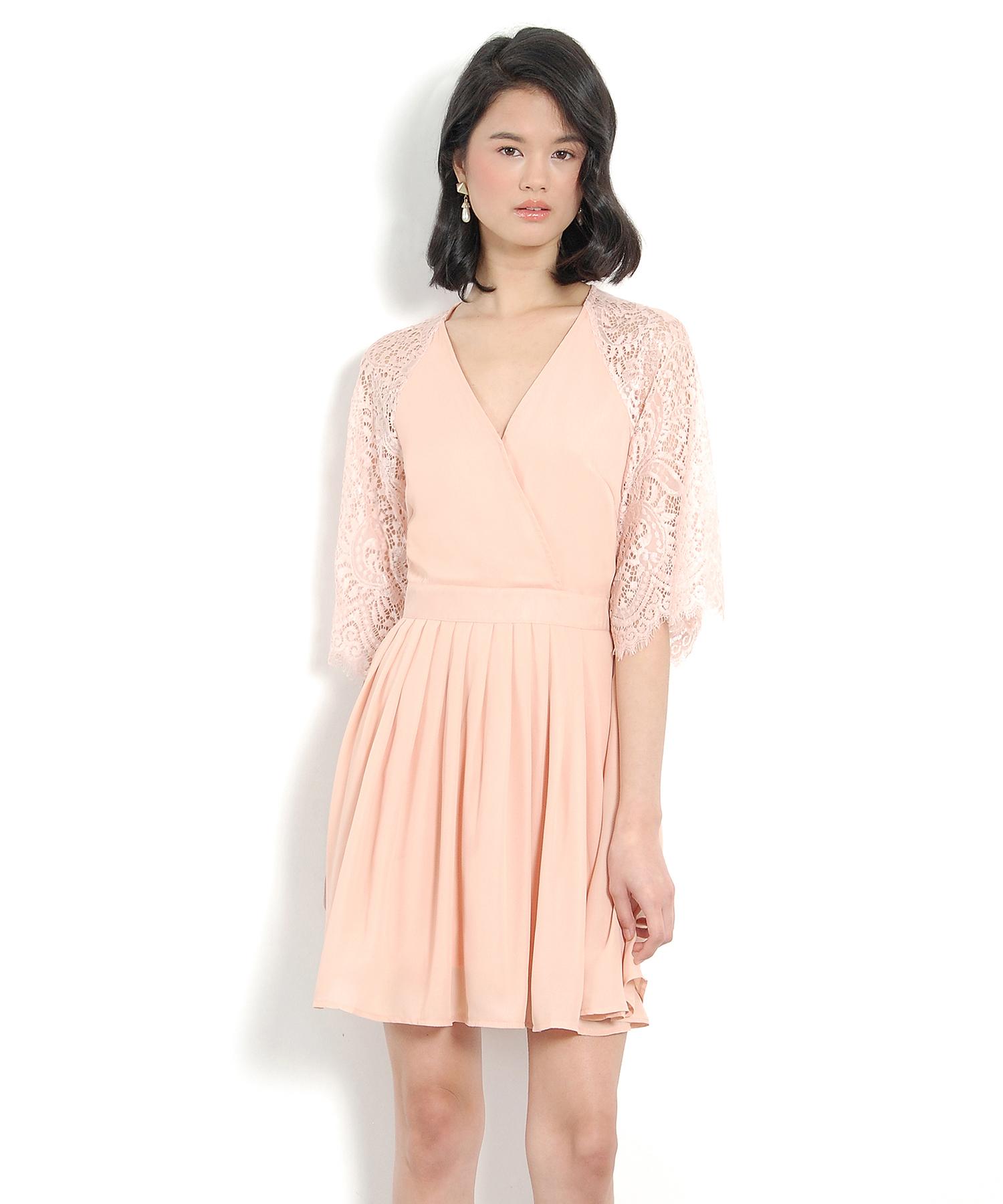 Emmeline Kimono Wrap Dress - Pale Blush | Her Velvet Vase