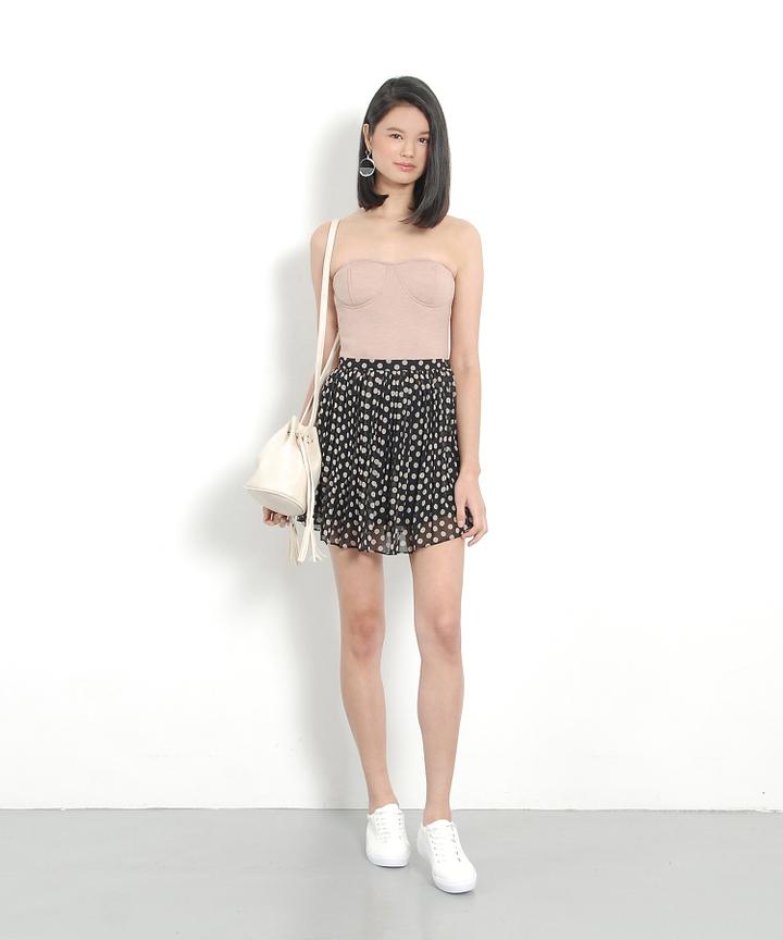 Polka Pleat Skirt - Black