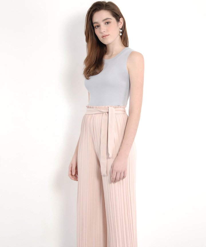 Solenne Knit Top - Pale Grey (Restock)