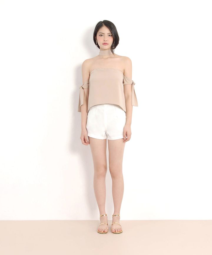Lou Off-Shoulder Blouse - Nude