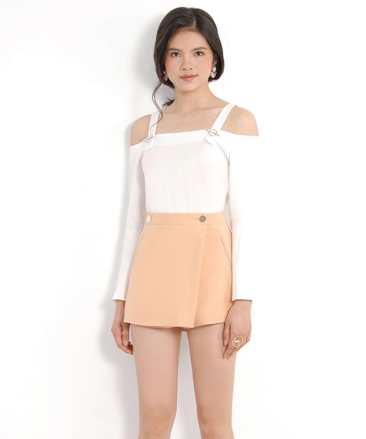 Satin Off-Shoulder Blouse - White