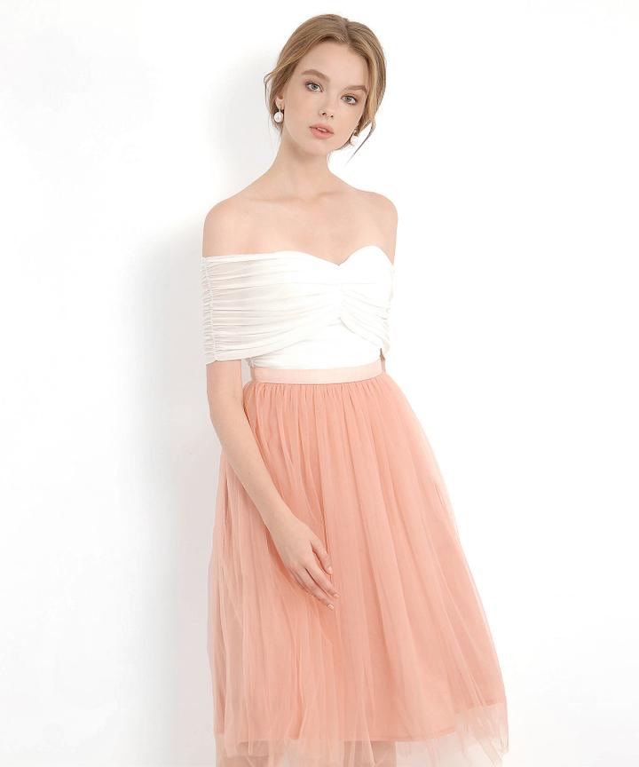 Swanlake Tulle Midi Skirt - Peach Pink