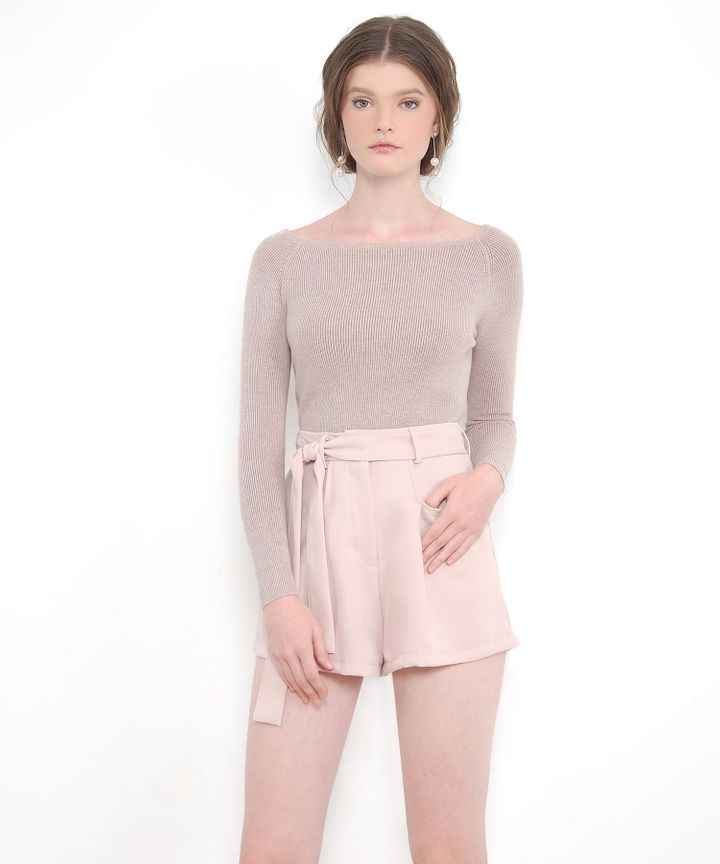 Laura Belted Shorts - Nude Pink (Restock)