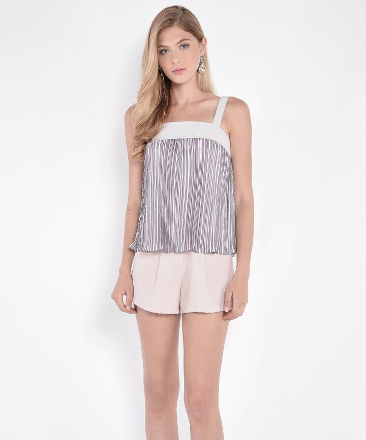 Melody Pleated Top - Pale Grey