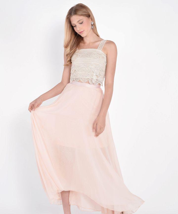 Windsor Asymmetrical Maxi Skirt - Pearl Blush