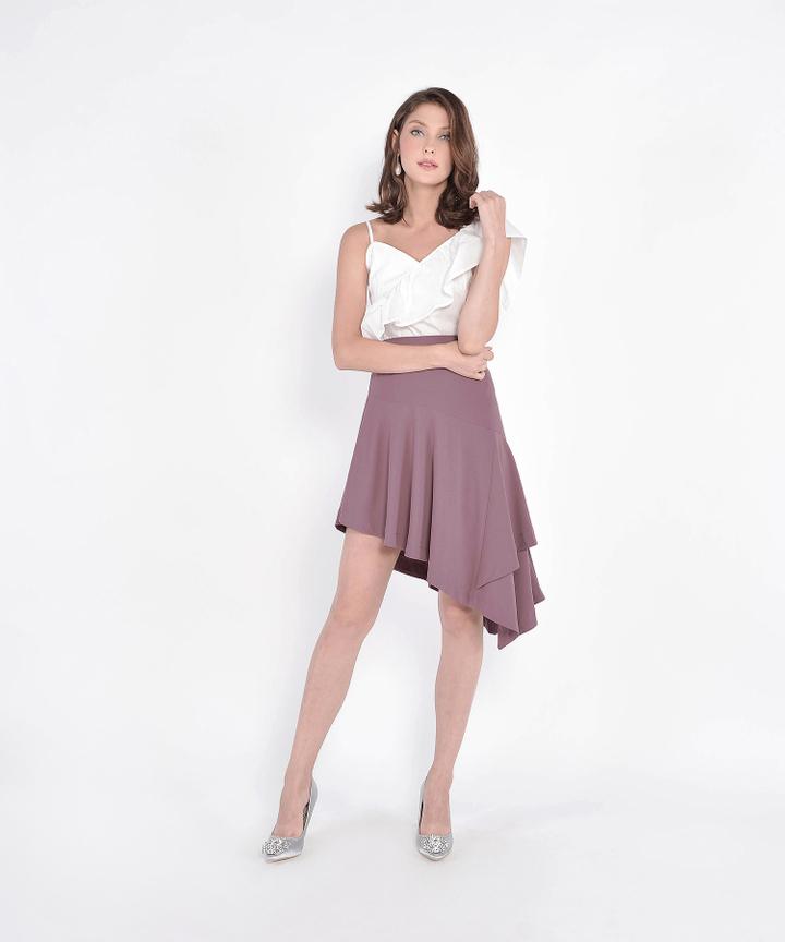 Lourdes Asymmetrical Skirt - Mauve