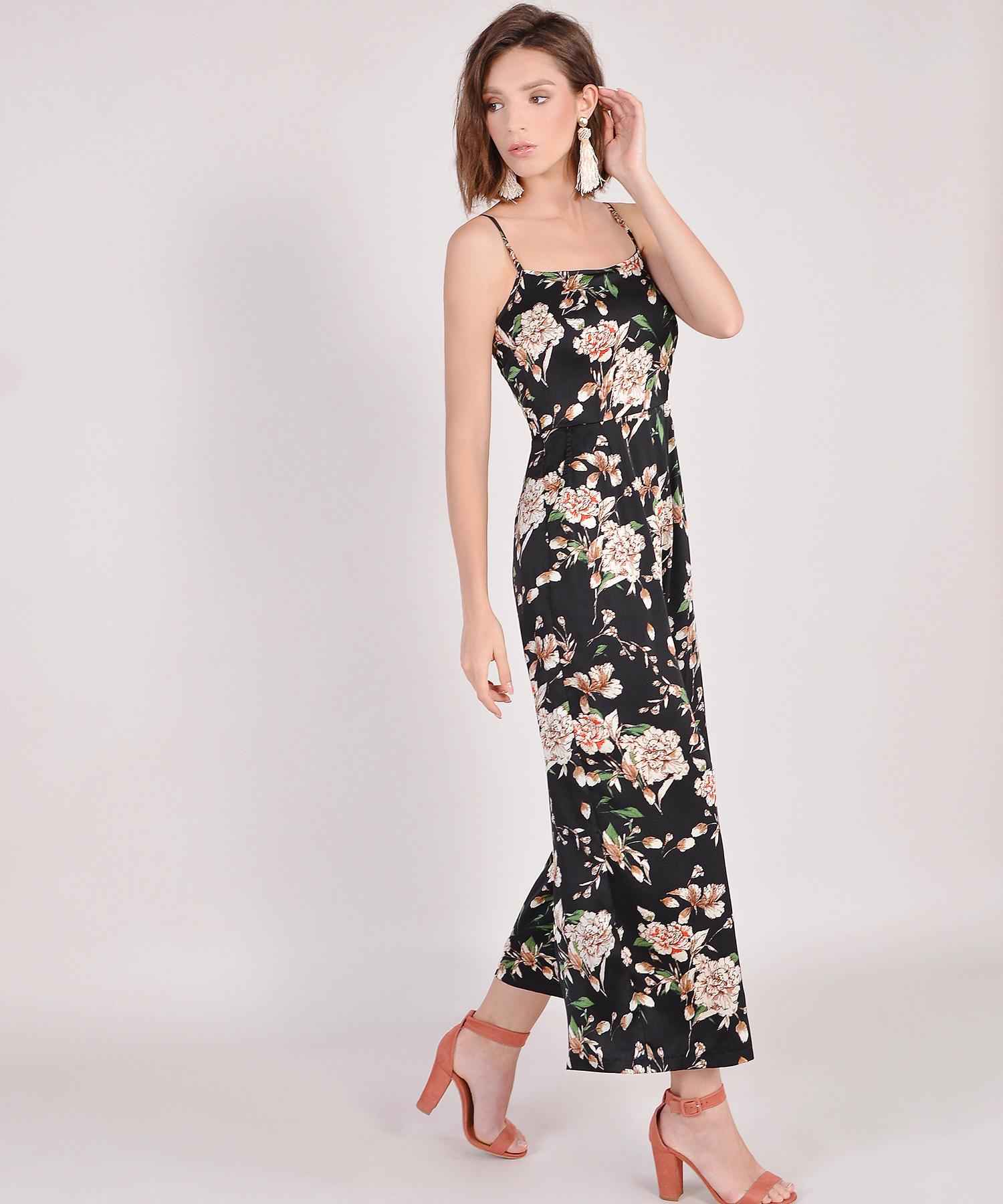 b4f192f8c0c Glossier Floral Jumpsuit - Black