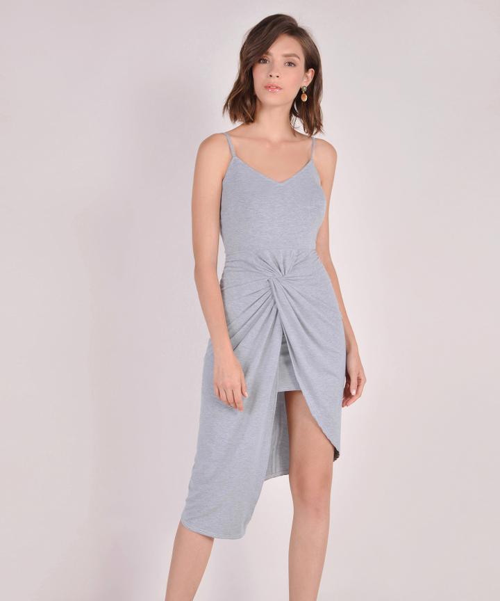 Arianna Knot Midi Dress - Grey