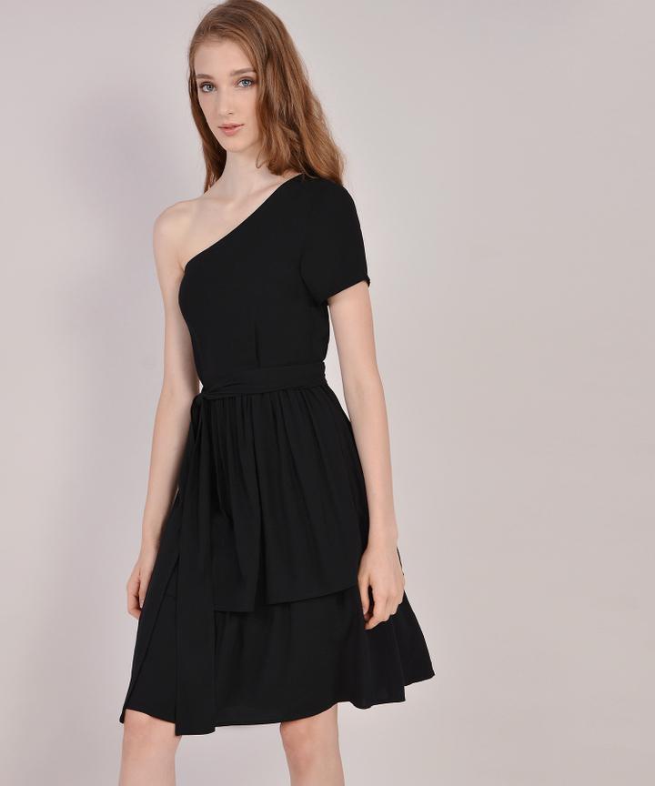 Isla Toga Tiered Midi Dress - Black