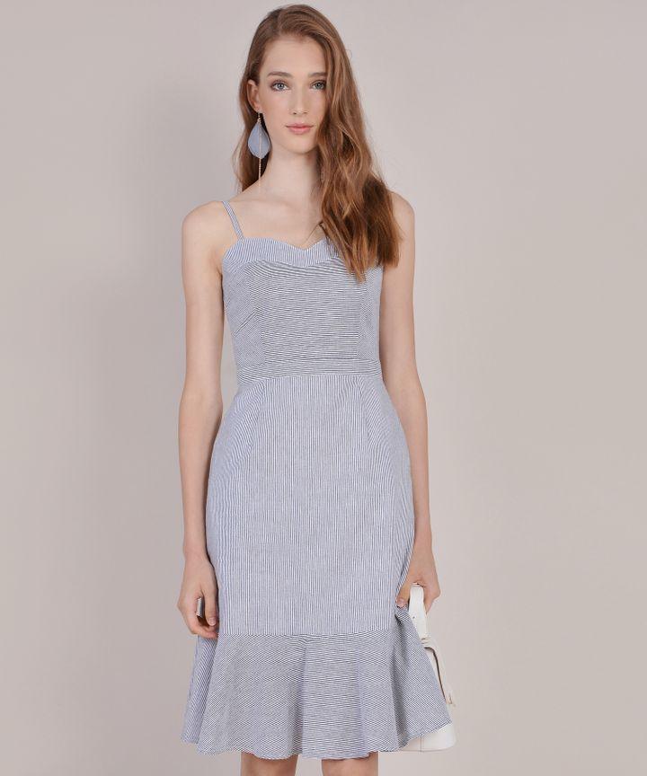 Avon Striped Midi Dress - Dark Grey