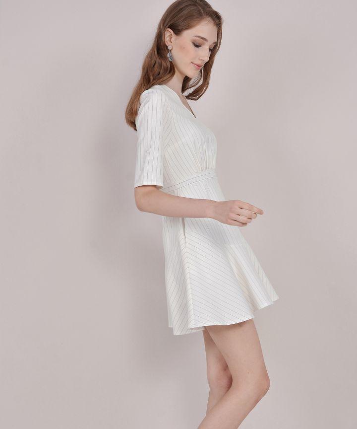 Kira Striped Dress - White