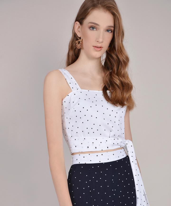 Orion Polka Dot Top - White
