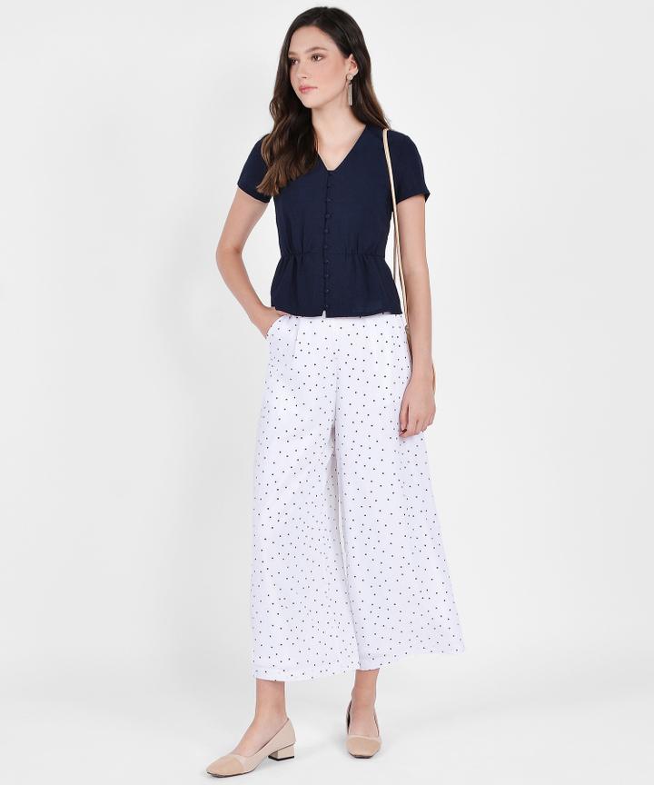 Orion Polka Dot Trousers - White