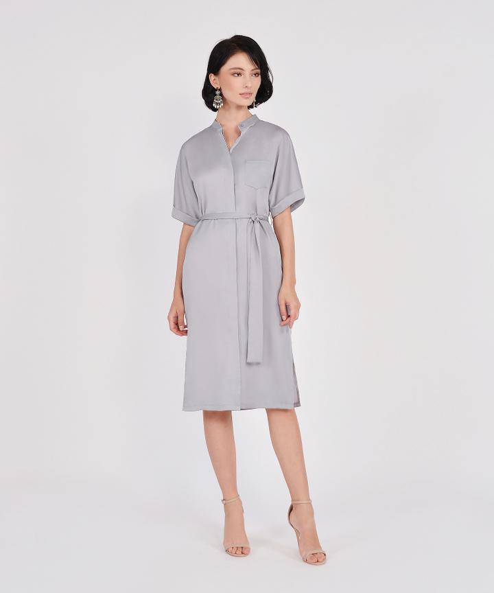 Oxford Midi Shirtdress - Silver Grey