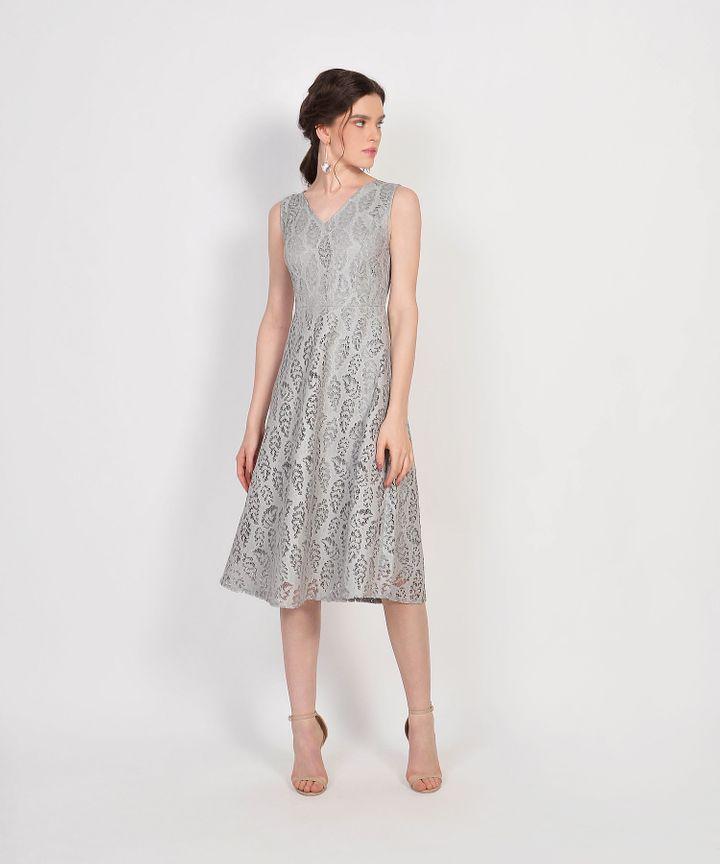 Karina Lace Midi Dress - Grey