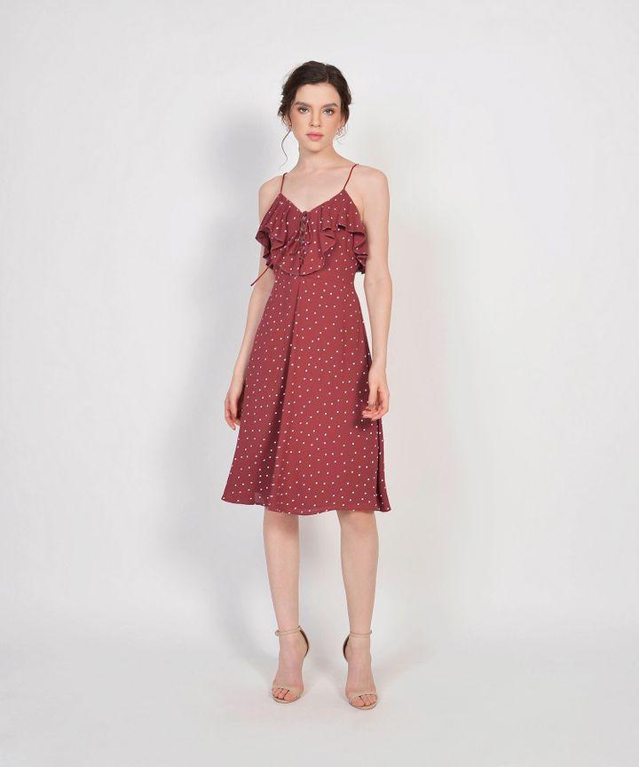 Lula Polka Ruffle Dress - Redwood