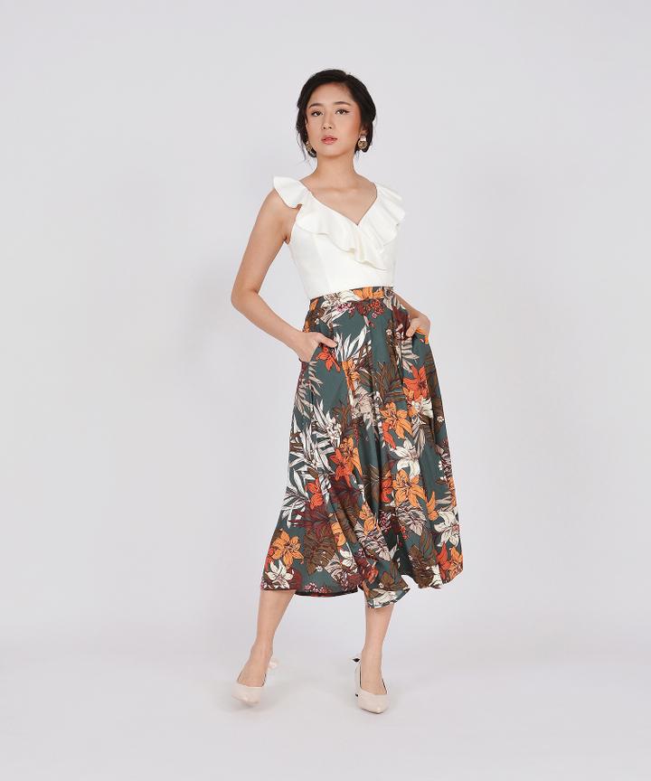 Jacqueline Floral Midi Skirt - Dark Seafoam