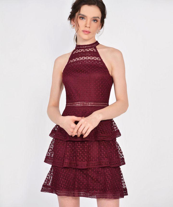 Lisbeth Crochet Tiered Dress - Wine