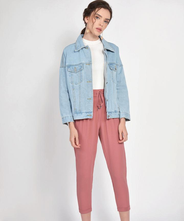 Shea Oversized Denim Jacket - Light Blue