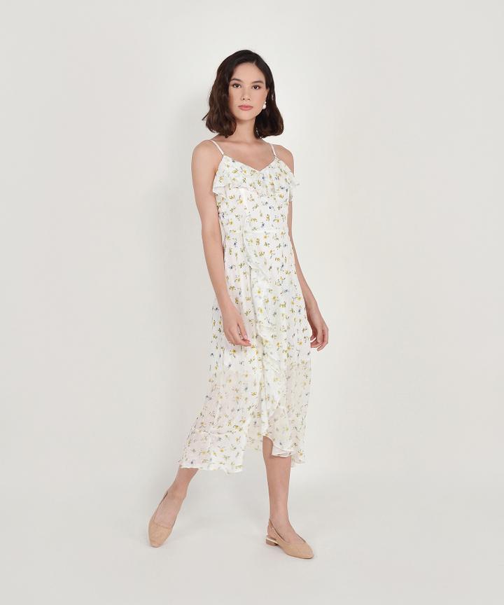 Ophelia Floral Ruffle Maxi Dress - White
