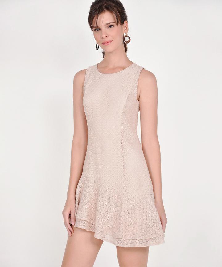 Claudine Eyelet Dress - Pale Nude