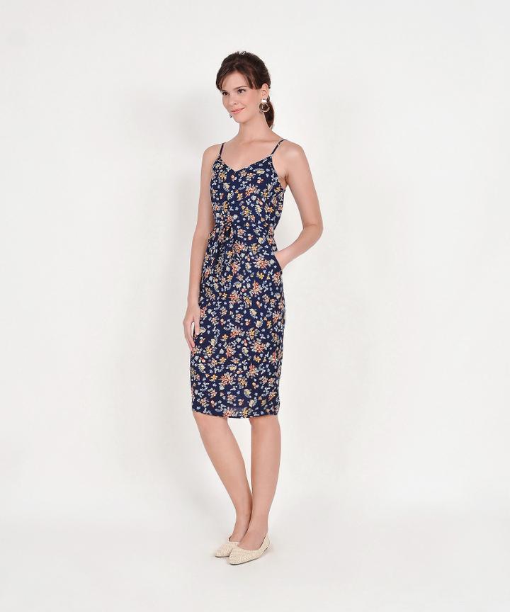 Arden Floral Drawstring Midi Dress - Navy