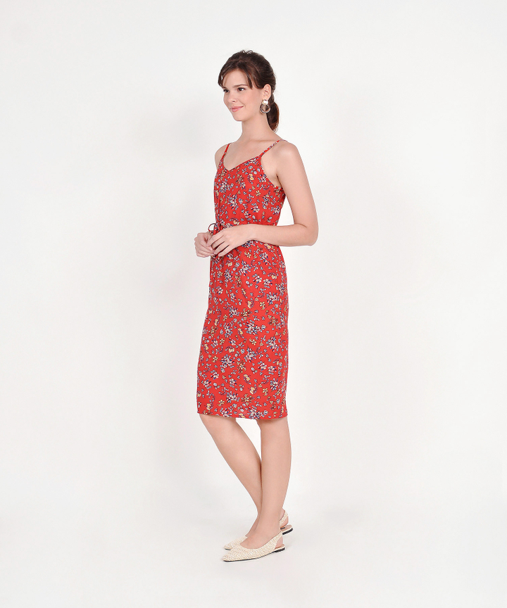 Arden Floral Drawstring Midi Dress - Red