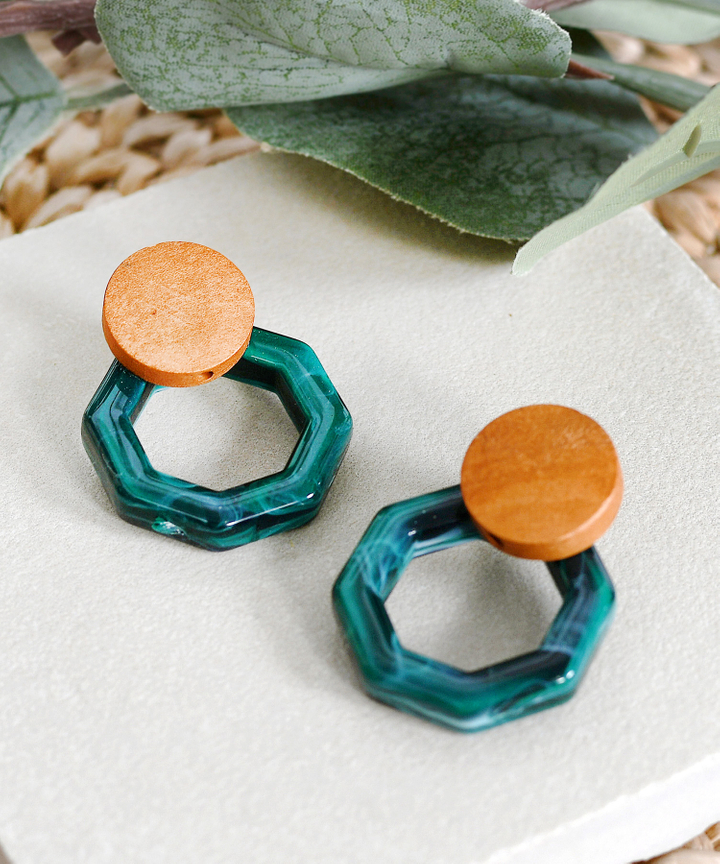 Talia Marble Earrings - Emerald