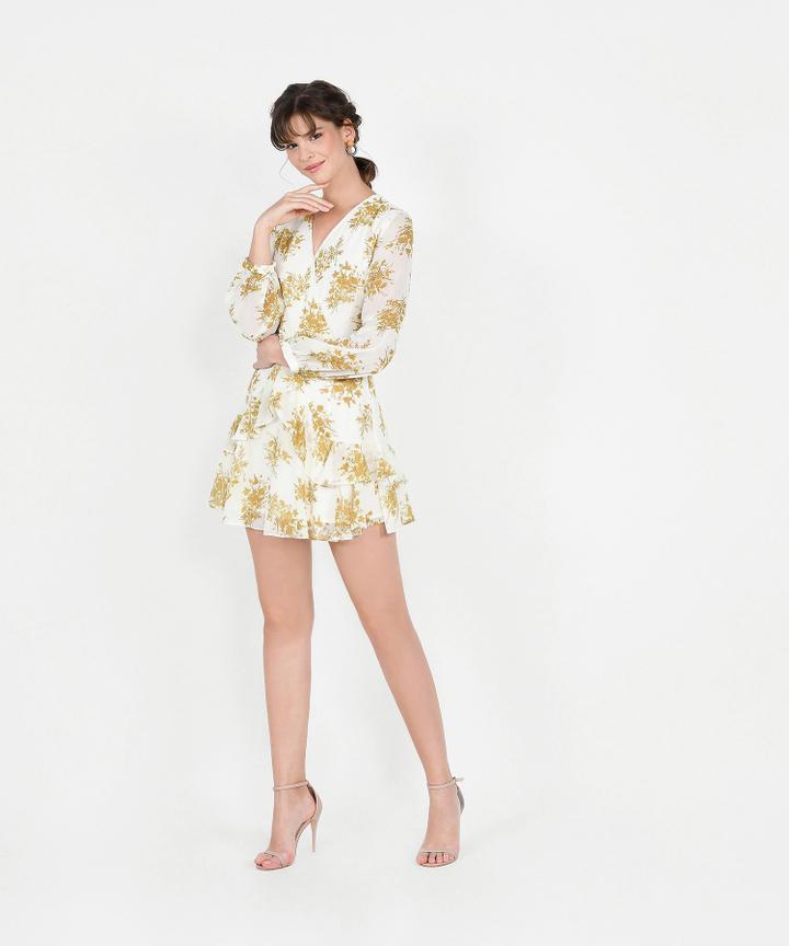 Lucienne Floral Ruffle Dress - Mustard