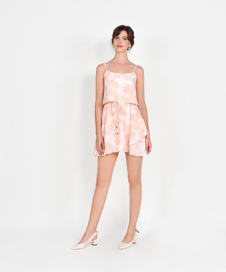 Elina Watercolour Drawstring Dress - Peach