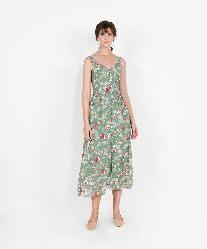 Loretta Floral Button Down Maxi - Jade