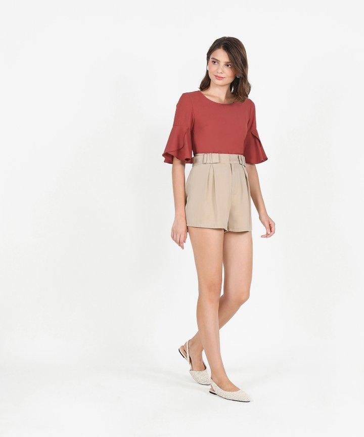 Tulip Sleeve Blouse - Dust Crimson