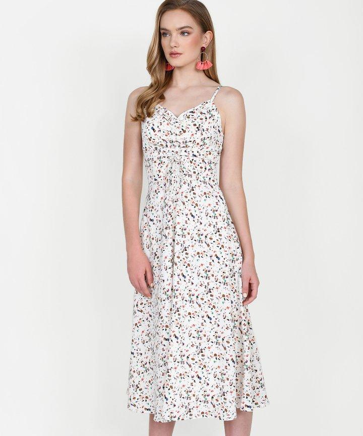 Hazel Printed Ruched Midi Dress - White