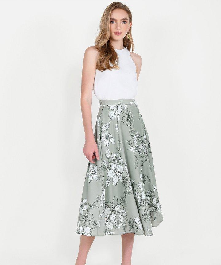 Vines Floral Midi Skirt - Pale Olive