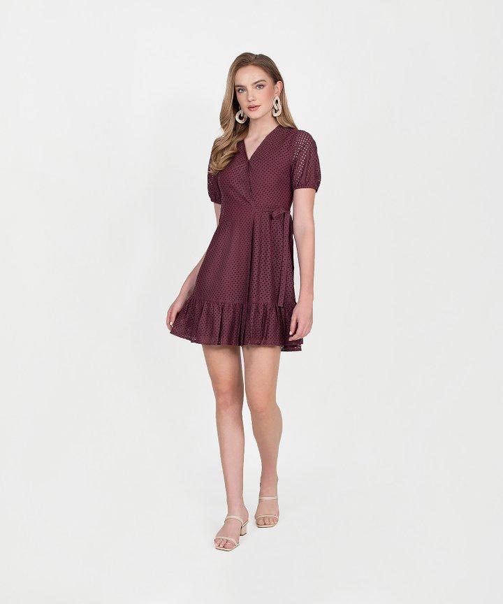 Francine Eyelet Overlay Dress - Burgundy