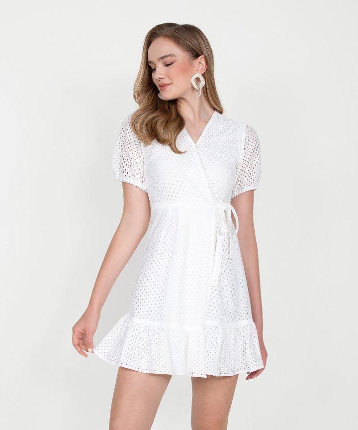 Francine Eyelet Overlay Dress - White