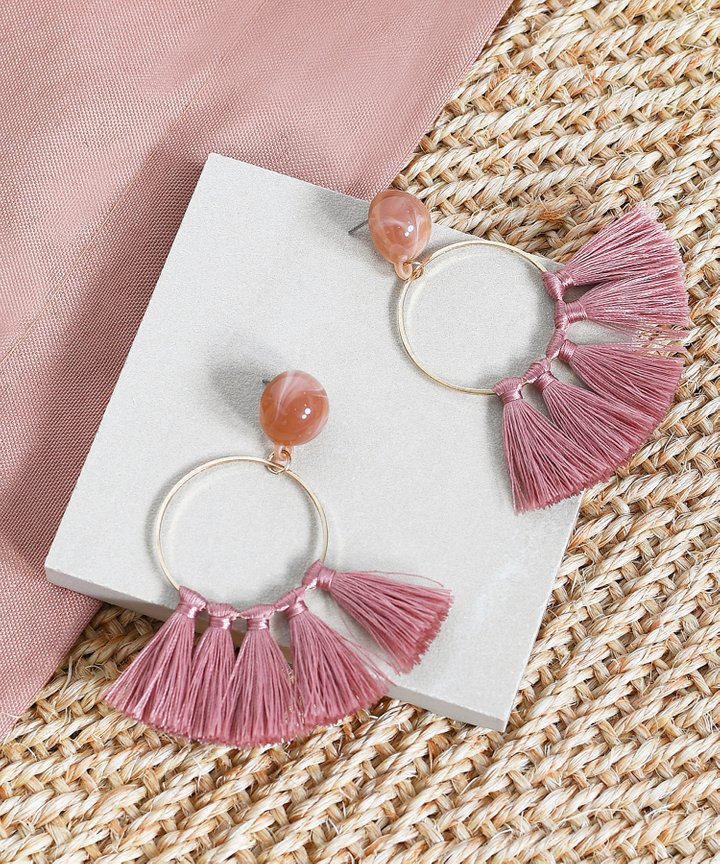 Innika Tassel Earrings - Mauve