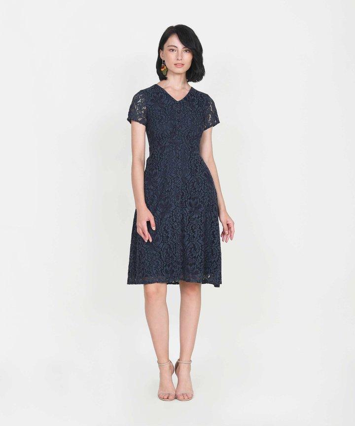 Silverlake Lace Midi Dress - Midnight Blue