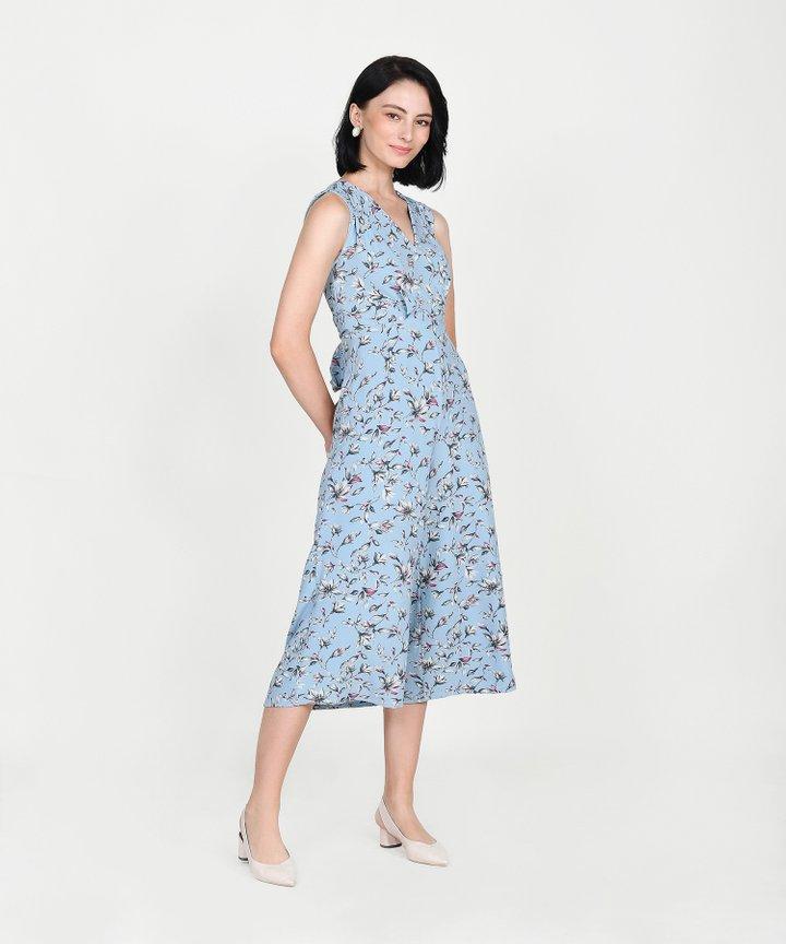 Athens Floral Wrap Jumpsuit - Pale Blue