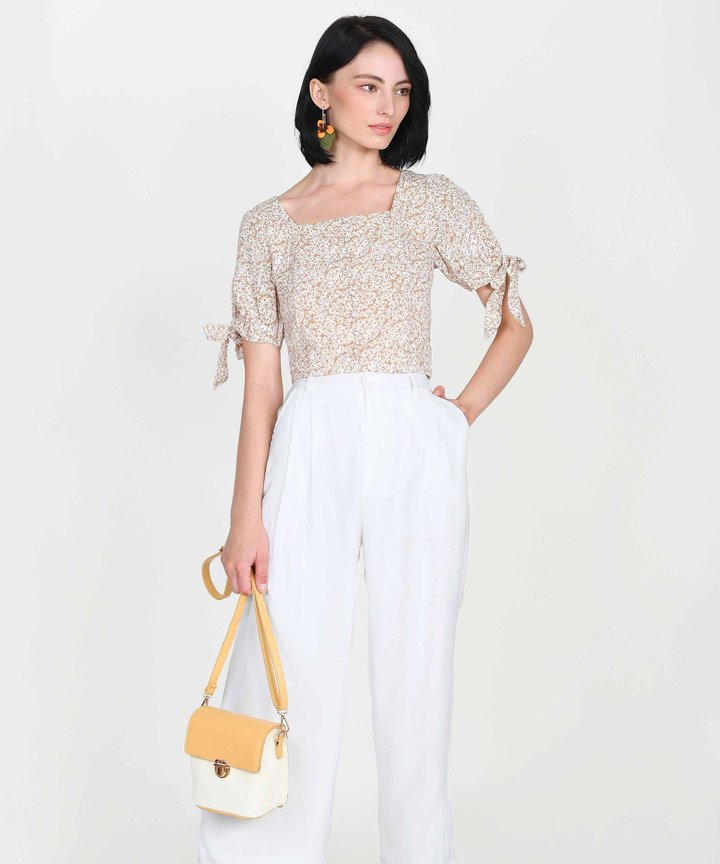 Toscana Floral Cropped Top - Beige