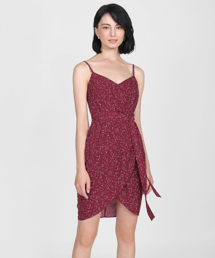 Sierra Polka Dot Dress - Claret