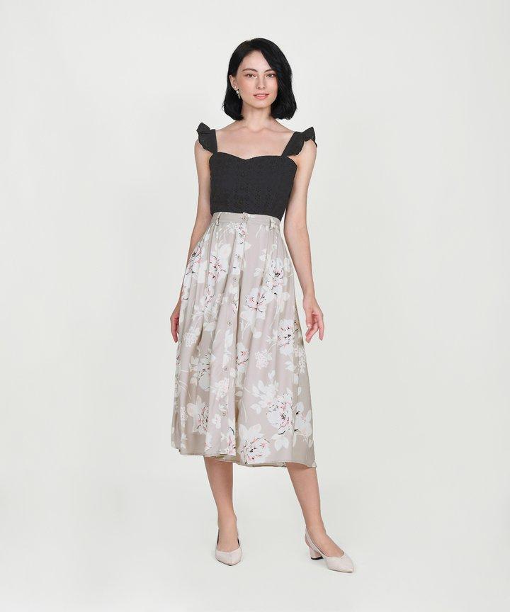 Cassis Floral Midi Skirt - Pale Sand